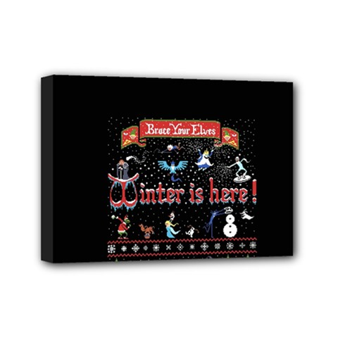Winter Is Here Ugly Holiday Christmas Black Background Mini Canvas 7  X 5  by Onesevenart