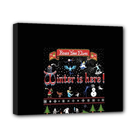 Winter Is Here Ugly Holiday Christmas Black Background Canvas 10  X 8  by Onesevenart