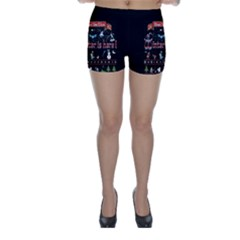 Winter Is Here Ugly Holiday Christmas Black Background Skinny Shorts by Onesevenart