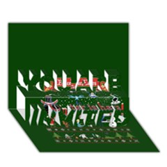 Winter Is Here Ugly Holiday Christmas Green Background You Are Invited 3d Greeting Card (7x5) by Onesevenart