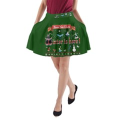 Winter Is Here Ugly Holiday Christmas Green Background A Line Pocket Skirt by Onesevenart