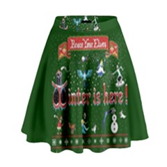 Winter Is Here Ugly Holiday Christmas Green Background High Waist Skirt by Onesevenart
