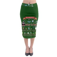 Winter Is Here Ugly Holiday Christmas Green Background Midi Pencil Skirt by Onesevenart