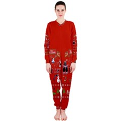 Winter Is Here Ugly Holiday Christmas Red Background Onepiece Jumpsuit (ladies)  by Onesevenart