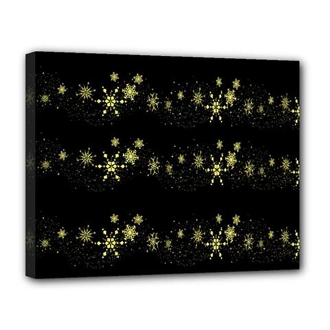 Yellow Elegant Xmas Snowflakes Canvas 14  X 11  by Valentinaart