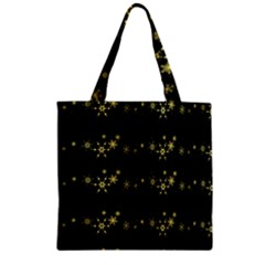 Yellow Elegant Xmas Snowflakes Zipper Grocery Tote Bag by Valentinaart