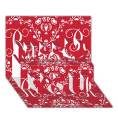 Initial Damask Red Paper Miss You 3d Greeting Card (7x5)