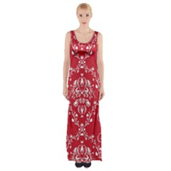 Initial Damask Red Paper Maxi Thigh Split Dress by AnjaniArt