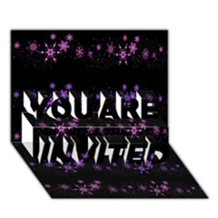 Purple Elegant Xmas You Are Invited 3d Greeting Card (7x5) by Valentinaart