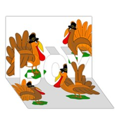 Thanksgiving Turkeys Boy 3d Greeting Card (7x5) by Valentinaart