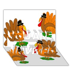 Thanksgiving Turkeys You Are Invited 3d Greeting Card (7x5) by Valentinaart