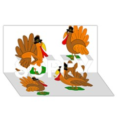 Thanksgiving Turkeys Sorry 3d Greeting Card (8x4)