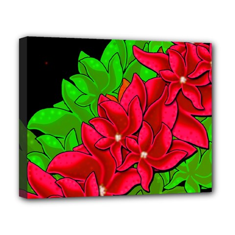 Xmas Red Flowers Deluxe Canvas 20  X 16   by Valentinaart