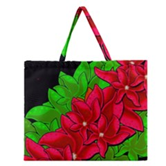 Xmas red flowers Zipper Large Tote Bag by Valentinaart