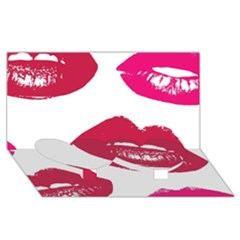 Living Nude Lipstick Featuredimage Twin Heart Bottom 3d Greeting Card (8x4) by AnjaniArt