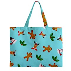 Pattern Merry Christmas Gingerbread Reindeer Man Snowman Holly Medium Tote Bag by AnjaniArt