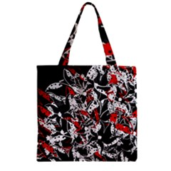 Red Abstract Flowers Zipper Grocery Tote Bag by Valentinaart