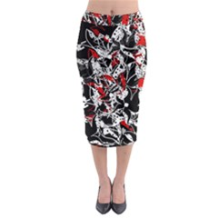 Red Abstract Flowers Midi Pencil Skirt by Valentinaart