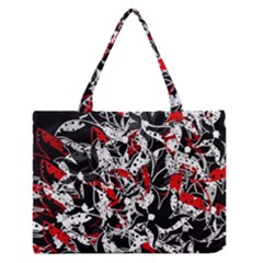 Red Abstract Flowers Medium Zipper Tote Bag by Valentinaart