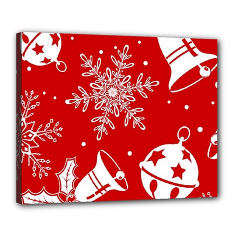 Red Winter Holiday Pattern Red Christmas Canvas 20  X 16  by AnjaniArt