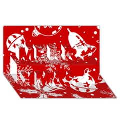 Red Winter Holiday Pattern Red Christmas Merry Xmas 3d Greeting Card (8x4) by AnjaniArt