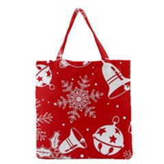 Red Winter Holiday Pattern Red Christmas Grocery Tote Bag