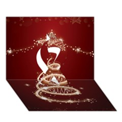 Shiny Christmas Tree Ribbon 3d Greeting Card (7x5) by AnjaniArt