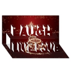 Shiny Christmas Tree Laugh Live Love 3d Greeting Card (8x4) by AnjaniArt