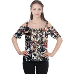 Abstract Floral Design Women s Cutout Shoulder Tee by Valentinaart