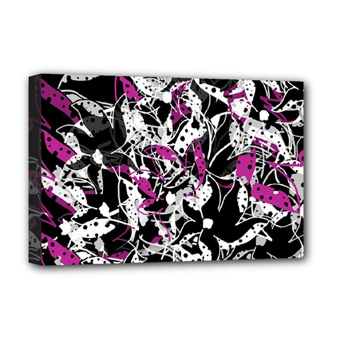 Purple Abstract Flowers Deluxe Canvas 18  X 12   by Valentinaart