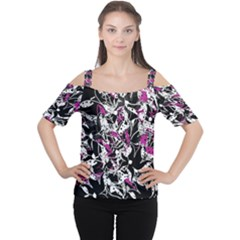 Purple Abstract Flowers Women s Cutout Shoulder Tee by Valentinaart