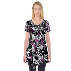 Purple Abstract Flowers Short Sleeve Tunic  by Valentinaart