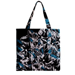 Blue Abstract Flowers Zipper Grocery Tote Bag by Valentinaart