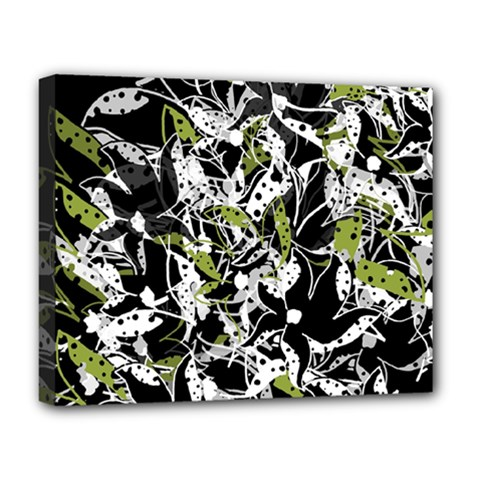 Green Floral Abstraction Deluxe Canvas 20  X 16   by Valentinaart