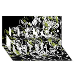 Green Floral Abstraction Best Wish 3d Greeting Card (8x4)