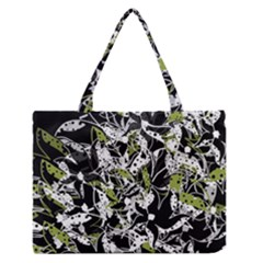 Green Floral Abstraction Medium Zipper Tote Bag by Valentinaart