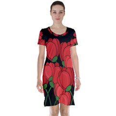 Red Tulips Short Sleeve Nightdress