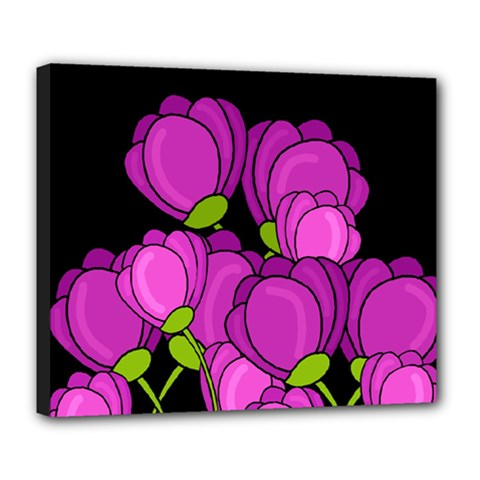 Purple Tulips Deluxe Canvas 24  X 20   by Valentinaart