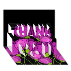 Purple Tulips Thank You 3d Greeting Card (7x5) by Valentinaart