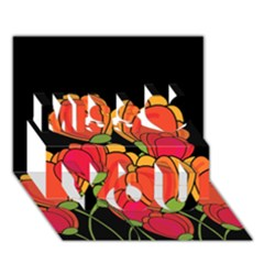 Orange Tulips Miss You 3d Greeting Card (7x5) by Valentinaart