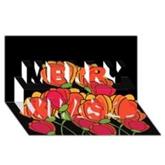 Orange Tulips Merry Xmas 3d Greeting Card (8x4)