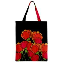 Orange Tulips Zipper Classic Tote Bag by Valentinaart