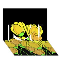 Yellow Tulips I Love You 3d Greeting Card (7x5)
