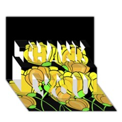 Yellow Tulips Thank You 3d Greeting Card (7x5) by Valentinaart