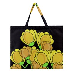 Yellow Tulips Zipper Large Tote Bag by Valentinaart