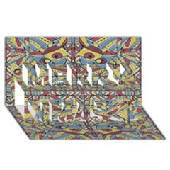 Multicolor Abstract Merry Xmas 3d Greeting Card (8x4)