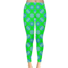 Mod Blue Circles On Bright Green Leggings  by BrightVibesDesign