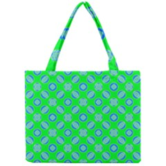 Mod Blue Circles On Bright Green Mini Tote Bag by BrightVibesDesign