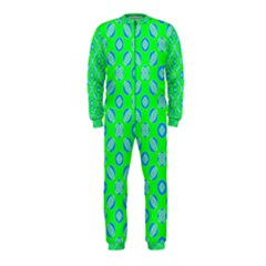 Mod Blue Circles On Bright Green Onepiece Jumpsuit (kids) by BrightVibesDesign