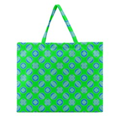 Mod Blue Circles On Bright Green Zipper Large Tote Bag by BrightVibesDesign